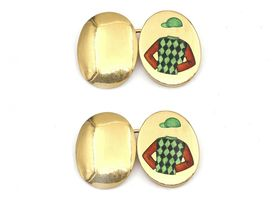 Enamel jockey cap and shirt double oval cufflinks