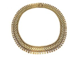 1880s Etruscan revival 15kt yellow gold collar necklace