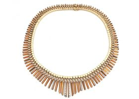 1940s diamond set fringed Cleopatra necklace in rose and yellow gold