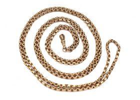Antique 9kt rose gold belcher longuard chain