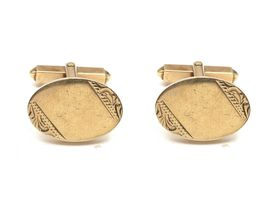 Solid 9kt gold oval and T-bar cufflinks