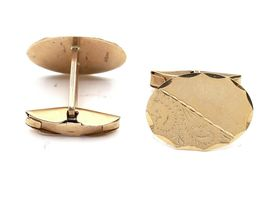 Vintage 9kt yellow gold oval hinged T-bar cufflinks