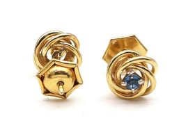 Vintage yellow gold and sapphire knot stud earrings