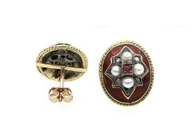 Victorian style oval ruby, diamond and red enamel stud earrings