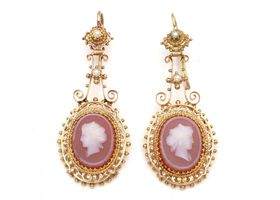 Antique French hard stone cameo drop earrings