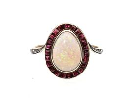 1920s opal and ruby oval cluster ring in platinum and gold
