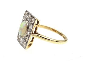Edwardian opal and diamond rectangular plaque ring