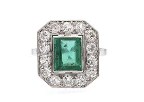 Art Deco style emerald and diamond octagonal cluster ring