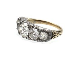 Victorian Old Mine cut diamond five stone ring in silver and gold