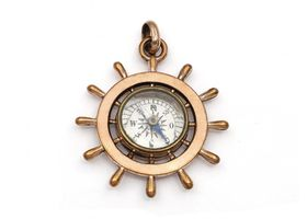 Antique 9kt rose gold compass and ship helm pendant