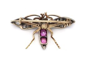 Victorian pearl, diamond and ruby mosquito bug brooch in silver and gold