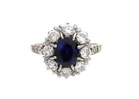 Edwardian sapphire and diamond oval coronet cluster ring