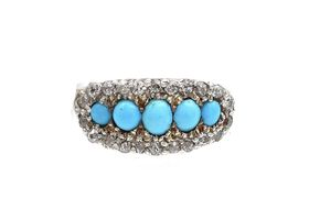1880s Persian turquoise five stone cluster ring in gold