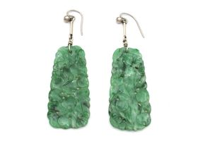 1920s carved jadeite drop earrings with silver fittings