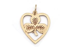 Vintage 9kt yellow gold shamrock and heart pendant