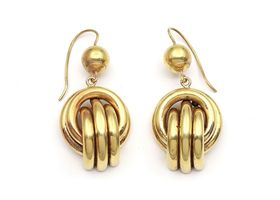 Victorian drop knot earrings in 9kt yellow gold