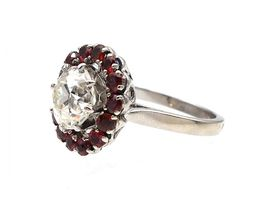 Vintage 2.12ct Old European cut diamond and ruby coronet cluster ring