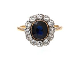 Edwardian sapphire and diamond floral cluster in 18kt yellow gold