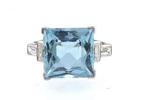 Vintage square aquamarine and diamond dress ring
