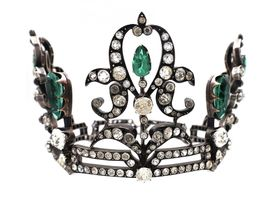 French Regency period silver coronet set with green and white paste