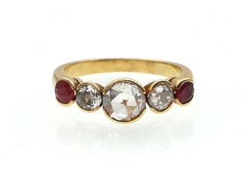 Vintage rose cut diamond and ruby five stone ring in gold