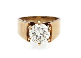 1.72ct round Old European cut diamond solitaire ring