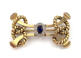18kt yellow gold, sapphire and diamond retro rope brooch