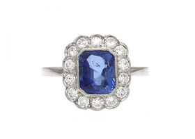 Art Deco Burmese sapphire and diamond floral cluster ring