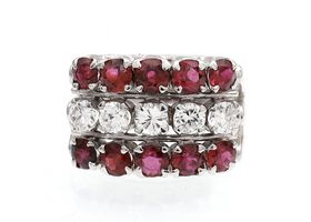 Vintage three row diamond and ruby cluster ring in white gold
