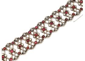French Art Nouveau silver and gold openwork bracelet set with garnets