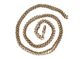 Antique 9kt yellow gold longuard chain with swivel