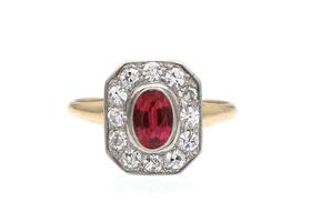 Antique ruby and diamond octagonal cluster ring