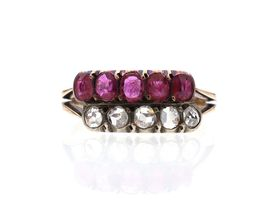 Victorian two row ruby and diamond ring in silver on gold