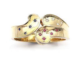 Retro 14kt yellow gold sapphire, ruby and diamond hinged bangle