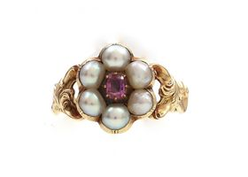 1841 Pink sapphire and natural pearl cluster ring in gold