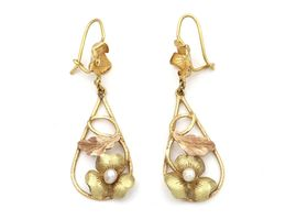 Art Nouveau yellow and rose gold floral drop earrings