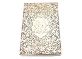 1893 sterling silver hinged box with foliate engraving