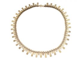 Retro 9kt yellow gold Cleopatra fringe necklace