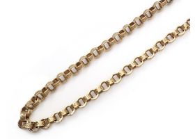 Vintage fancy belcher link necklace in 9kt yellow gold