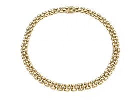 1980s 9kt yellow gold watch bracelet link necklace