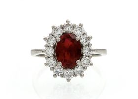 Ruby and diamond coronet cluster ring in platinum