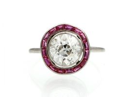 Art Deco 1.80ct Old European cut diamond and ruby target ring