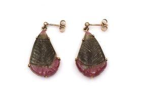 Vintage carved watermelon tourmaline drop earrings