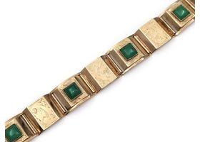 Retro 14kt yellow gold panel bracelet set with jadeite