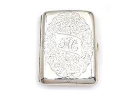 Antique sterling silver curved rectangular case