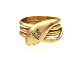1917 diamond set serpent ring in 18kt yellow gold