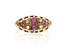 Antique 18kt yellow gold ruby and diamond navette cluster ring