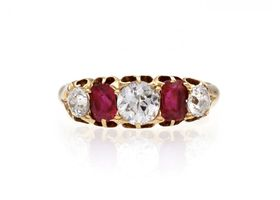 Victorian diamond and ruby five stone ring in 18kt gold