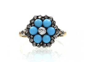 Antique diamond and turquoise 'forget-me-not' ring