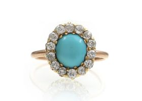 Victorian oval turquoise and diamond cluster ring